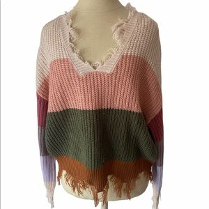 Polly & Esther Oversized Distressed Sweater• Small
